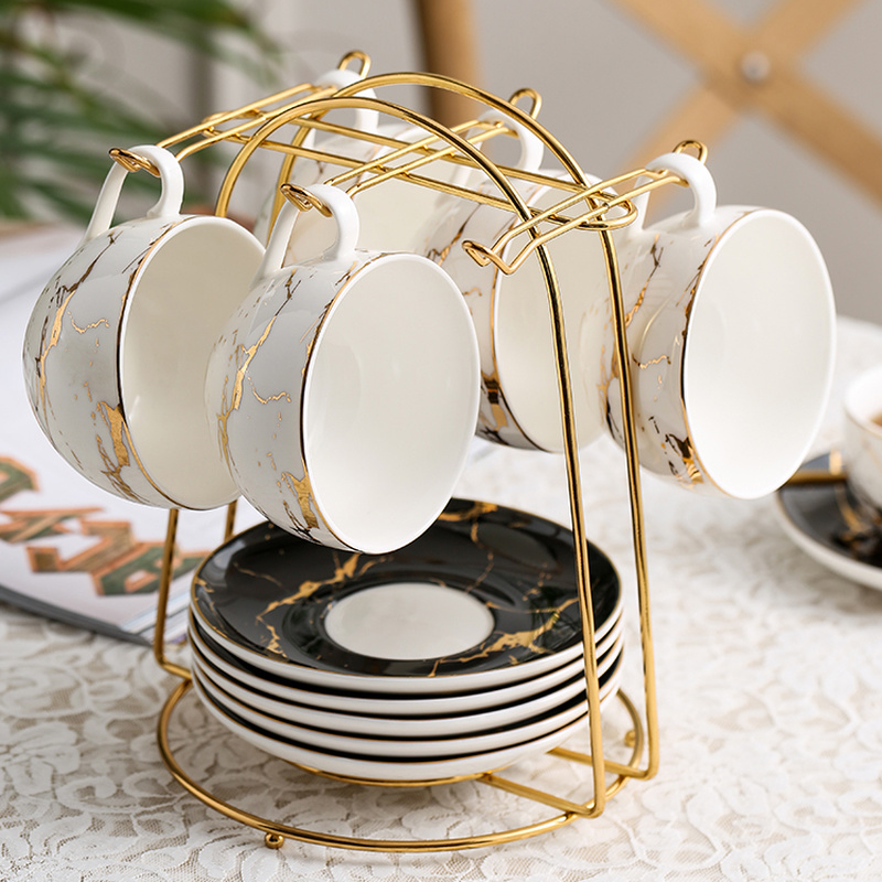 European Style Coffee Cup Dish Storage Rack Black Hanging Cup Shelf Iron Tea Set Hanging Rack Flower Tea Cup Storage Rack