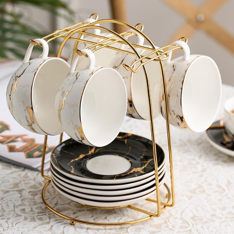 European Style Coffee Cup Dish Storage Rack Black Hanging Cup Shelf Iron Tea Set Hanging Rack Flower Tea Cup Storage Rack