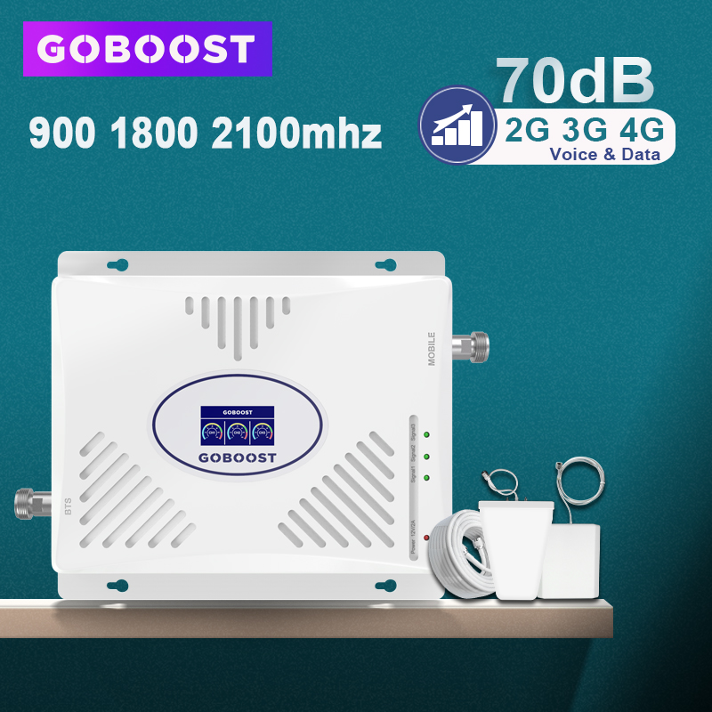 GOBOOST Cellular Signal Amplifier GSM 2G 3G 4G Signal Booster 900 1800 2100 Tri Band Mobile Phone Amplifier 4G 70dB Antenna Set