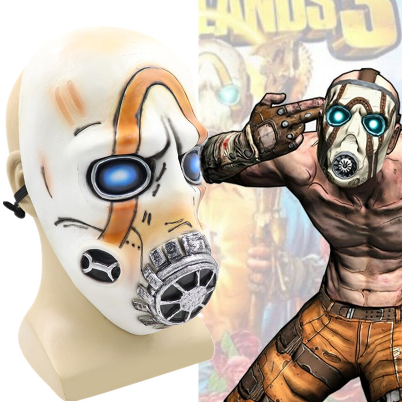 <font><b>Borderlands</b></font> 3 Psycho Cosplay LED Lights Helmet Latex Mask Full Face Adult Props Halloween image