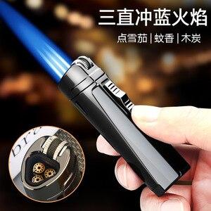 Jet Three nozzle Flame Torch Lighter Turbo Spray Gun Visible Gas Butane Smoke Lighter Windproof Cigar Cigarette Lighter For Man
