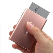 Men Business Card Holder Hand Push Card Case Bank Card Membership Package Metal Unisex Ultra Thin Cards Packaging Organizer