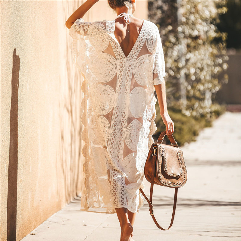 Image 3 - 2020 Sexy See Through Deep V Neck Loose Summer Beach Dress Chiffon Tunic Women Plus Size Beachwear Sarongs Plage Long Dress N880Dresses   -