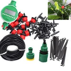 25m DIY Micro sistema de riego por goteo planta automático temporizador de riego Kits de manguera de jardín con gotero ajustable BH06