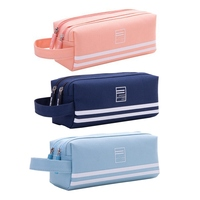 New Student Stationery Double-layer Multi-function Canvas Pencil Bag Simple Cute Double Zipper Large Capacity Pen Case