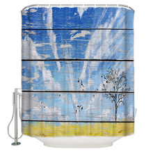 Cortina de baño impresa con diseño de Mordern Vintage otoño cielo azul Cortina de ducha tela de poliéster cortinas 3d para Baño
