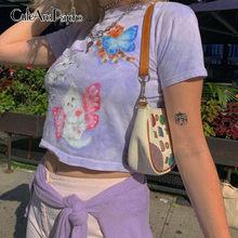 Borboleta impressa camiseta curto casual feminino camisas de algodão roxo tripulação pescoço topo de colheita verão streetwear básico 90s topo cuteandpsycho