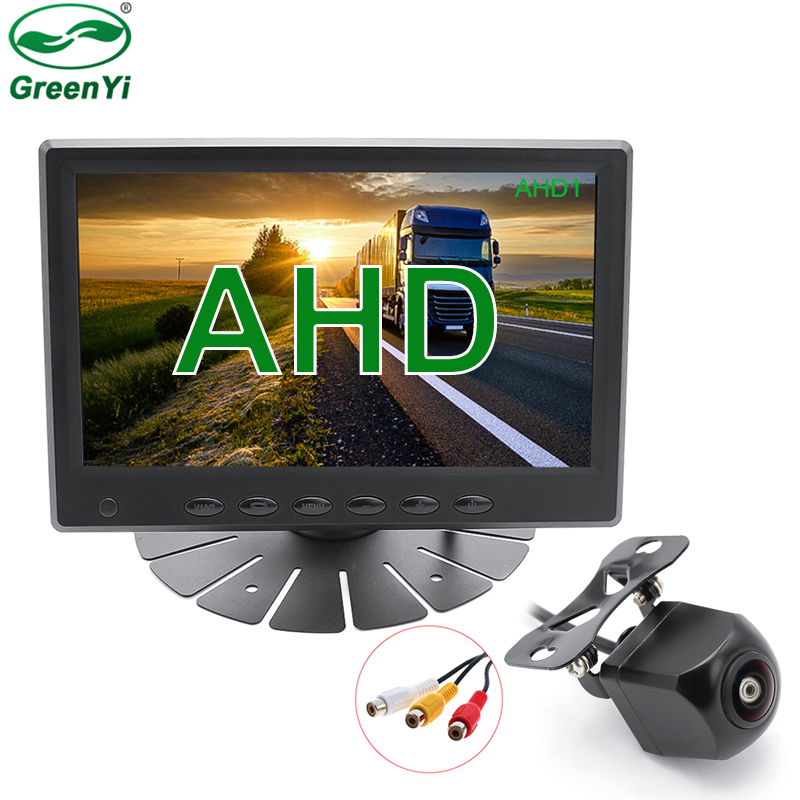 2020 melhor qualidade hd 1920*1080 7 Polegada tela ips ahd monitor de estacionamento do carro com ahd 1080p lente fisheye vista traseira câmera backup