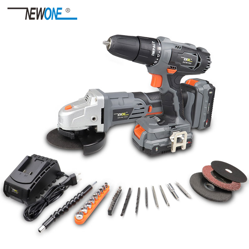 NEWONE 20V 3/8 Inch Lithium Impact Drill /115mm Angle Grinder Combo Kit(2.0/4.0Ah) And Drill Bit Set Cordless Screwdriver 40N.m