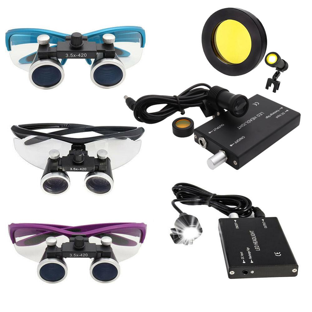 2.5/3.5X Dental Surgical Binocular Loupe Dental Magnifier 3W/5W Headlight Head Lamp 4 Colors
