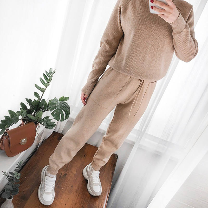 Women Elastic Waist Drawstring Trousers Thick Knitted Harem   Pants   Solid Autumn Winter Women's   Pants   New Bottoms