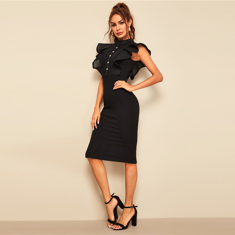 Sheinside Elegant Button Up Pencil Dress Women 19 Summer Layered Ruffle Trim Detail Bodycon Dresses Ladies Solid Midi Dress 8
