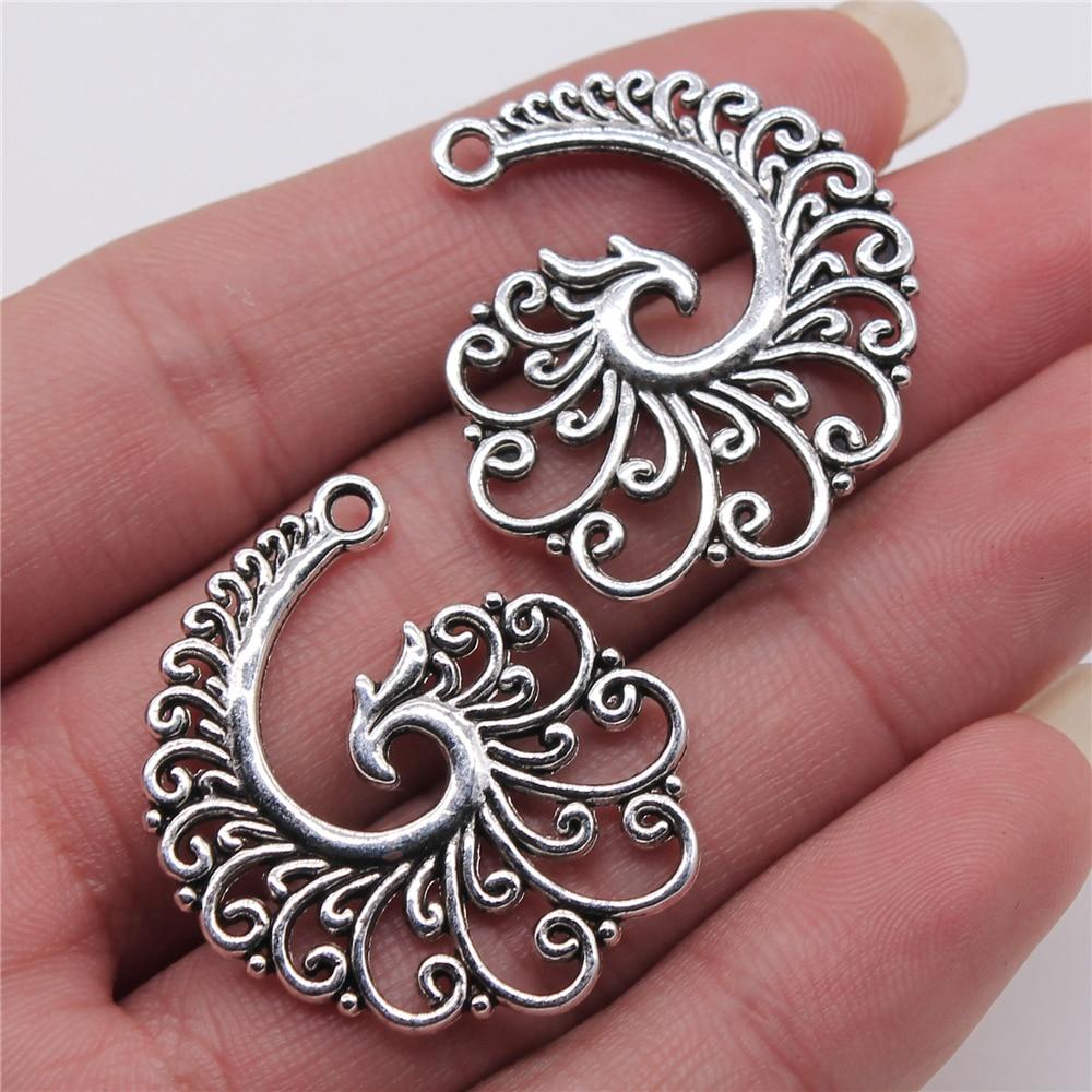 Wysiwyg 4 pçs 31x32mm filigrana espiral phoenix antigo prata cor liga de metal jóias descobertas diy acessórios