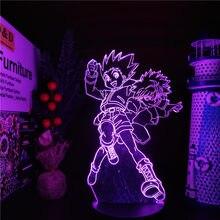 Hunter x hunter gon e killua 3d led anime lâmpada luzes da noite ilusão candeeiro de mesa para decoração casa