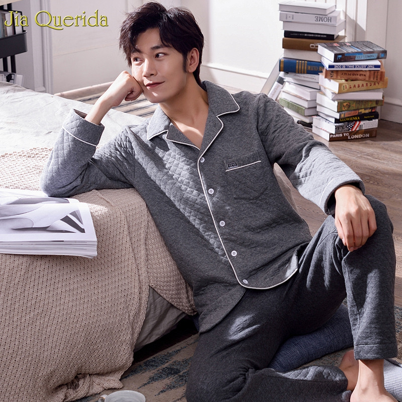 Men Sleepwear Pajama Long Sleeves Trousers 2 Pieces Pajamas Set Winter Warm 100% Cotton Padded Embossing Pattern Mans Pajama Set