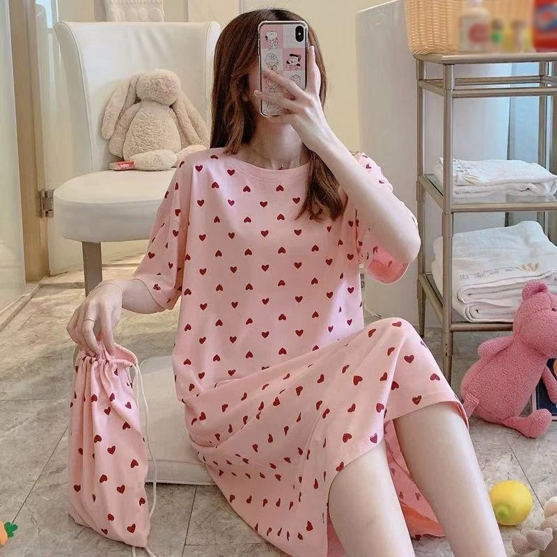 Spring And Summer Fresh And Sweet Loose Night Skirt Comfortable Plus Size Dress Bag