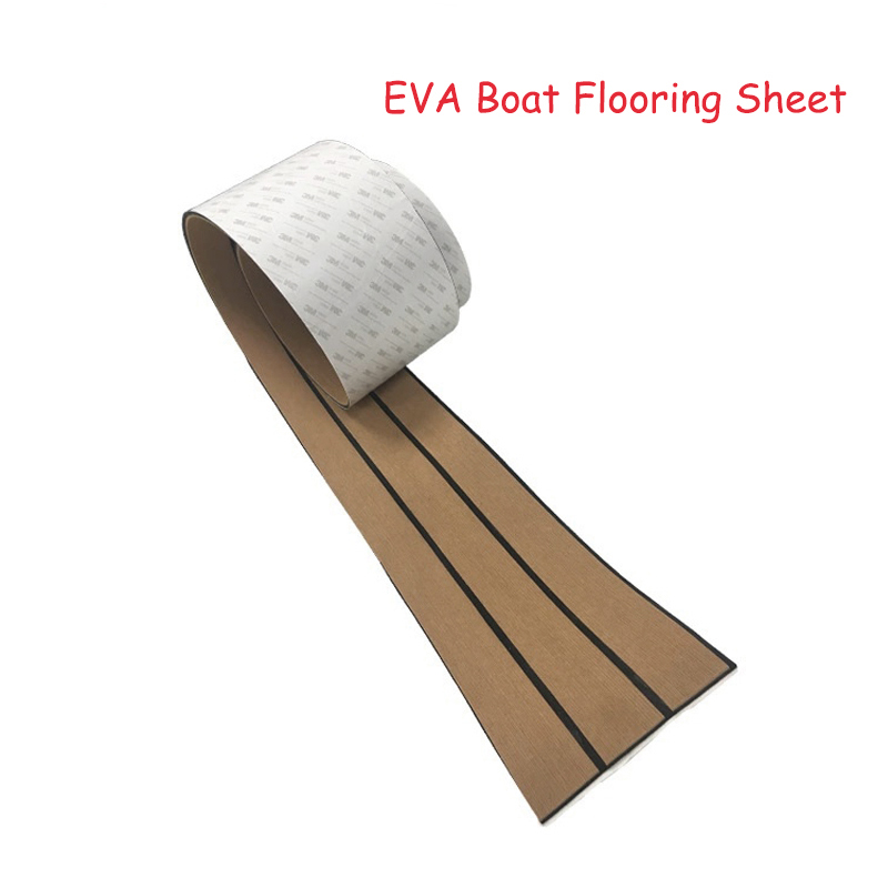 58x2400x5mm EVA Foam Imitated Teak Yacht Flooring Brown Boat Deck Mat Anti Skid MatRecreational Vehicle Pad