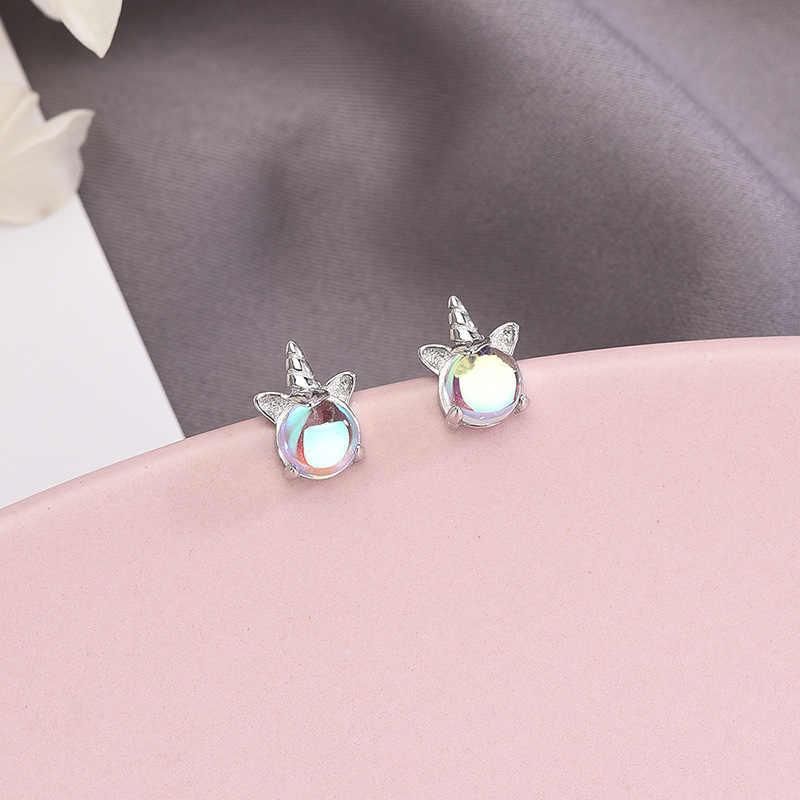 여성을위한 925 스털링 실버 유니콘 오팔 스터드 귀걸이 파티 귀걸이 패션 기념일 쥬얼리 pendientes eh473
