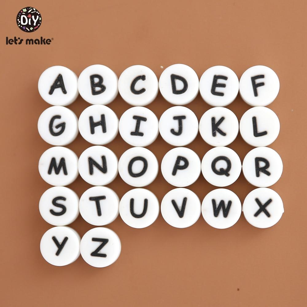 Let's Make Baby Teether 50Pcs Tiny Rod DIY Making Rattle Silicone Beads For Mobile Crib Slicone Letter Teething Toys