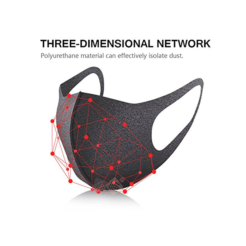 Face Dust Mask Black Cotton Face Respirator Filter Bacteria PM2.5 Pollen Allergy Washable Recycle Protective Mask