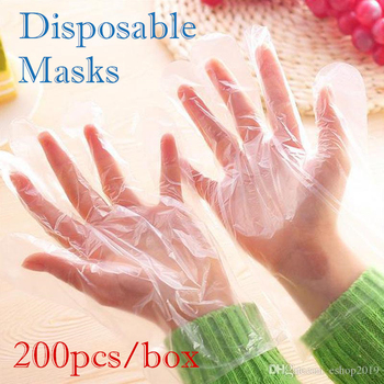 200pcs/box Plastic Disposable Gloves Restaurant Cleaning Kitchen Cooking BBQ Food Kitchen Home Dining Accessories Hot Wholesale