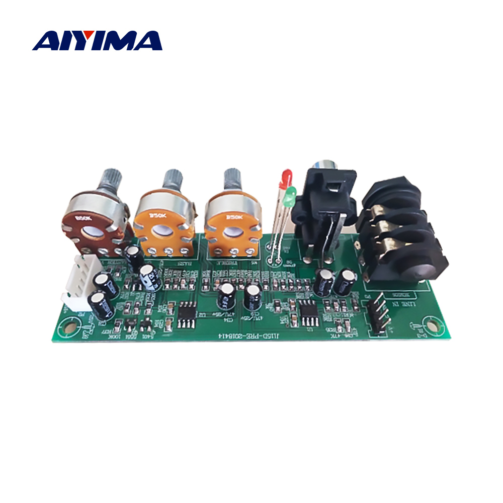 AIYIMA Preamp Amplifier Board Mono Two Road EQ Tweeter Bass Adjustment Preamplifier DIY Home Sound Theater