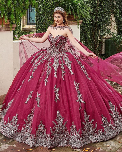 2021 Luxury Dark Red Beads Ball Gown Quinceanera Dresses Beaded Sweet 15 Dress Pageant Gowns Bridal Boutique vestido de 15 anos