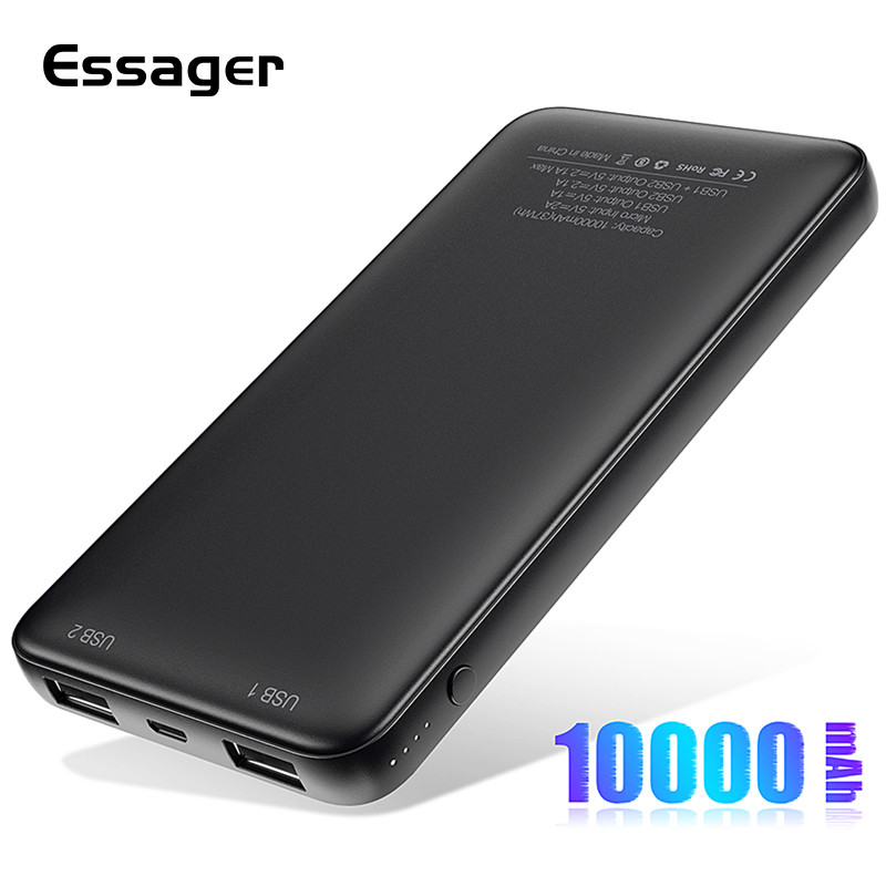 Essager Slim Power Bank 10000mah Dual USB Powerbank For Redmi Note 8 Pro 10000 MAh Poverbank Portable Charger External Battery