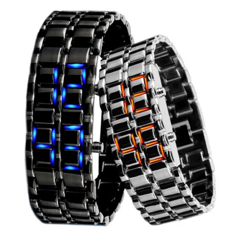 Unisex Watches Couple Watches Cool Silver Full Stainless Steel LED Lava Blue Red Light Digital Wrist Watch