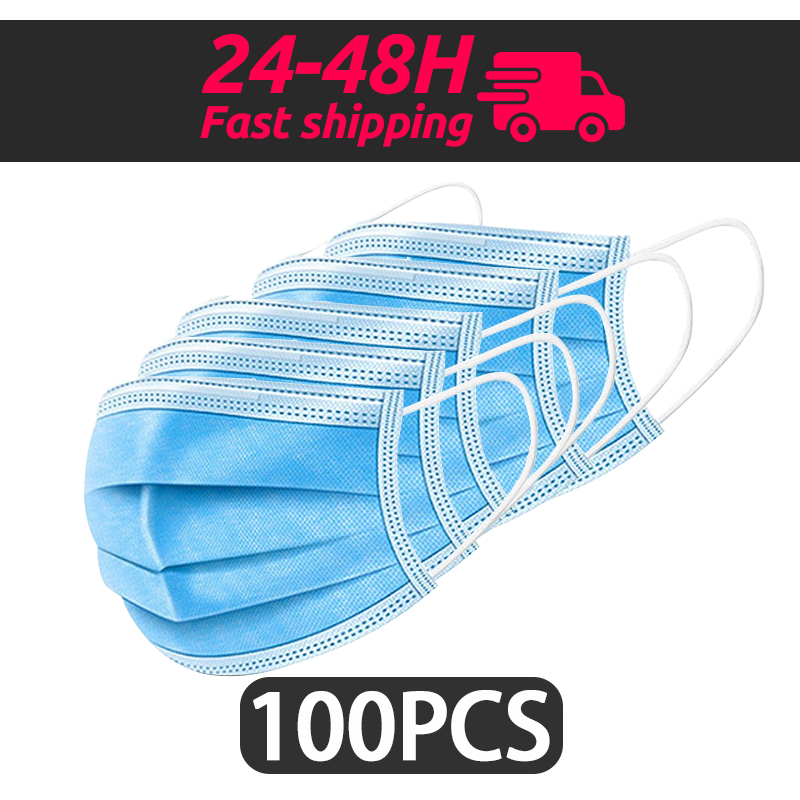 100pcs Face Mouth Anti Dust Mask Disposable Protect 3 Layers Filter Dustproof Earloop Non Woven Mouth Mask 12-24 Hours Shipping