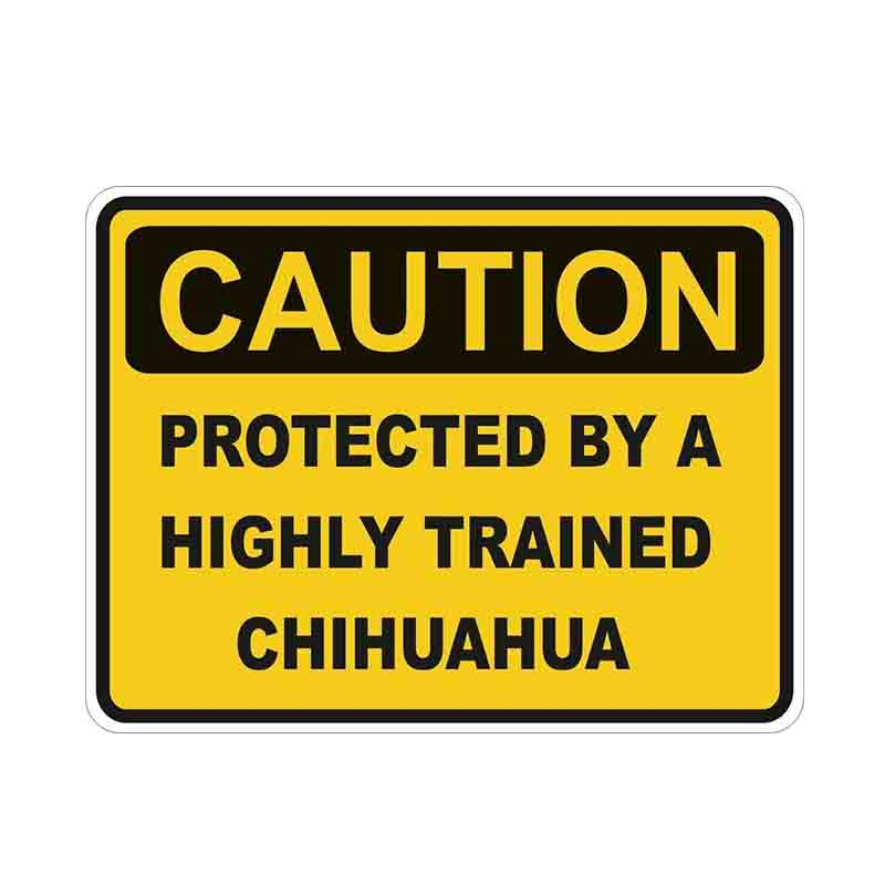 13*10cm Caution Protected By Chihuahua Warning Funny Car Sticker Dog Pet Car Window Decal Vinyl Waterproof Car Accessories