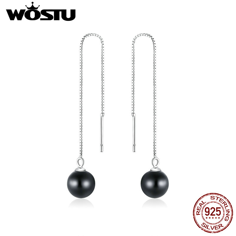 WOSTU Real 925 Sterling Silver Stylish Black Stone Waterdrop Drop Earrings For Women Long Line Earrings Fine Jewelry Gift CQE878