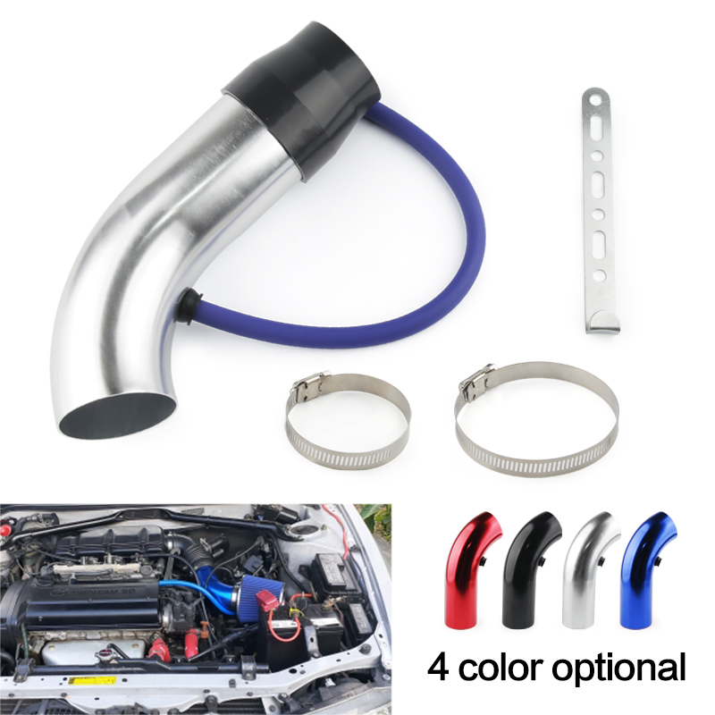 Universal Alumimum 3'' 75mm Car Cold Air Intake System Turbo Induction Pipe Tube silver Black Red Color