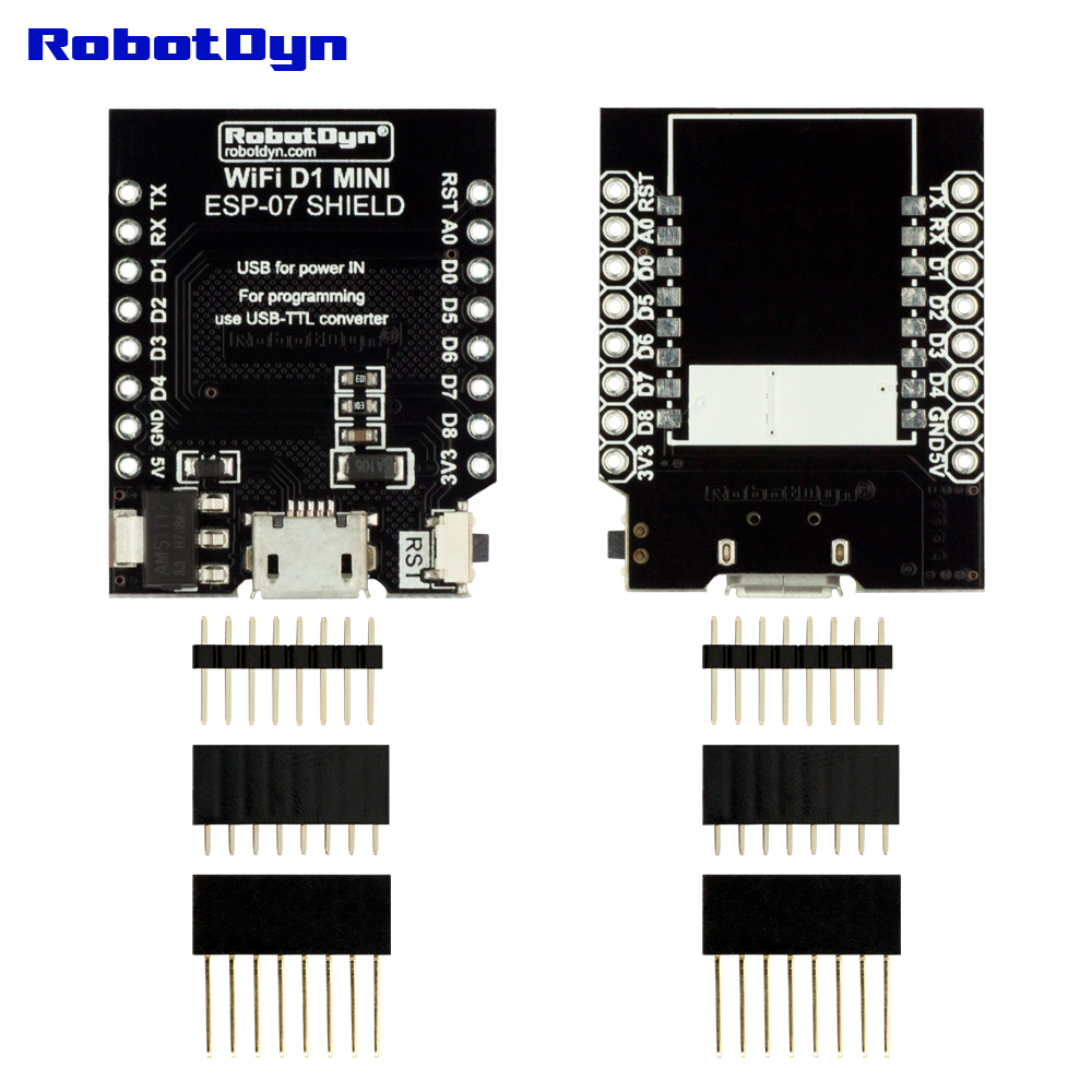 RobotDyn WIFI D1 mini - ESP-07 Shield, with pin-headers set compatible with Arduino boards WI-FI ESP8266 for DIY Electronic