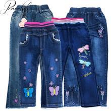 Весенне-осенние джинсы для маленьких девочек 1-12 лет, джинсовые штаны, брюки для девочек