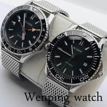 41mm New BLIGER Silver Case Sapphire Crystal Black Dial Ceramic Bezel Date Luminous waterproof Men's Top GMT Automatic Watch(China)