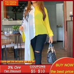Plus Size 3xl Color Block Yellow Asymmetrical Long Sleeve Blouse Shirt Women Afircan Office Ladies Casual 2020 Fall Autumn Tops