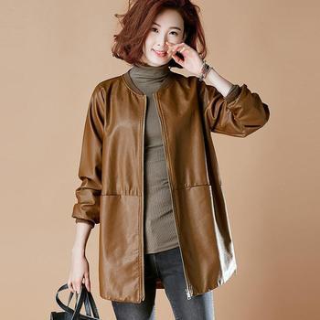 2020 nowych moda wiosna jesień kobiet skórzana kurtka w stylu Vintage damska kurtka ze skóry sztucznej Slim kobiet O-neck Faux Leather znosić tanie i dobre opinie CN (pochodzenie) Wiosna jesień zipper Na co dzień REGULAR Pełna women jackets Krótki