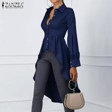 Модная Асимметричная Топы Женская Весенняя блуза zanzea 2021