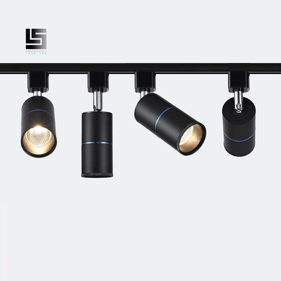 COB 7W 12W 15W LED Track Light Langit-langit Aluminium Rel Lampu Lampu Lampu Lampu Sorot 220 V untuk Toko Pakaian