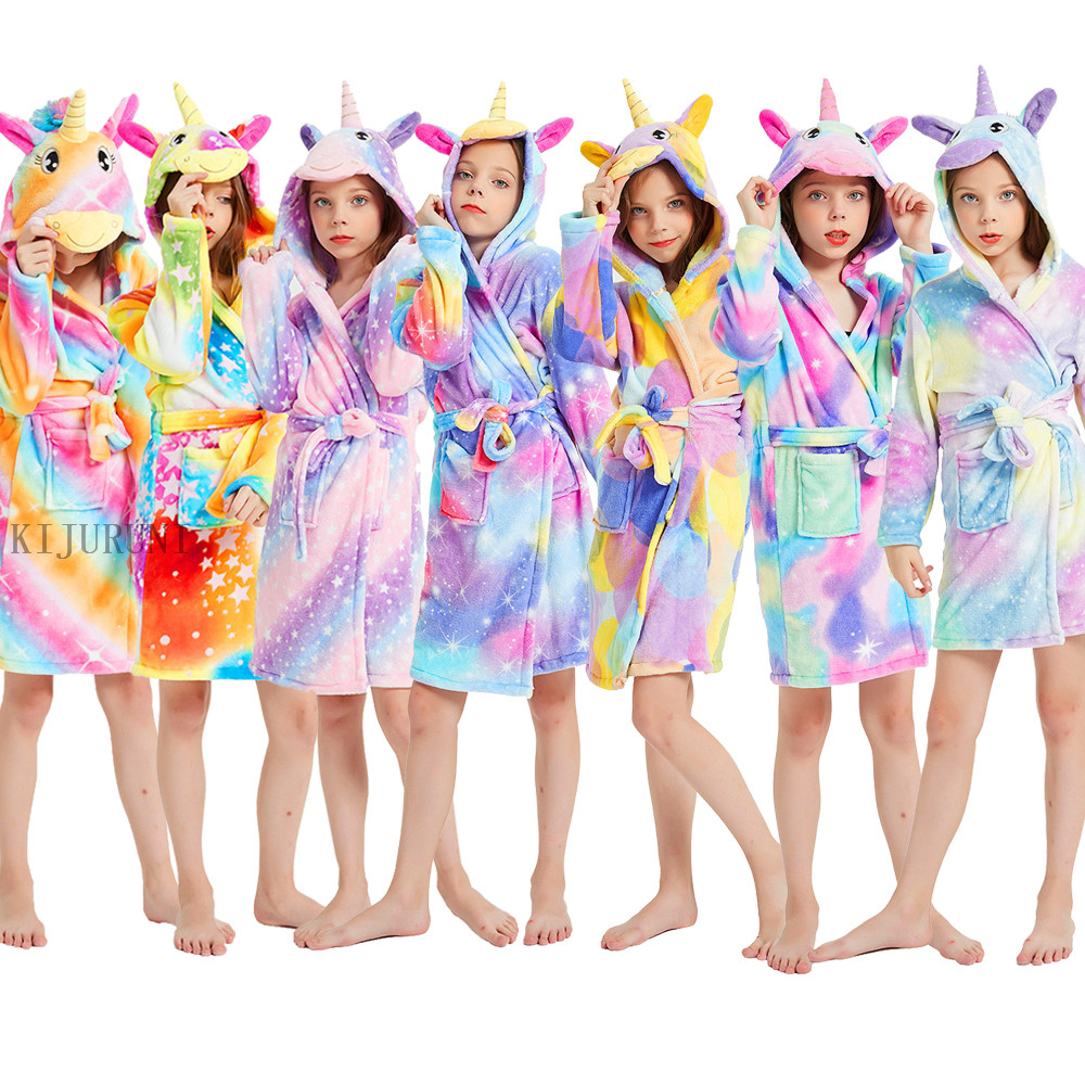 New Autumn Winter Hooded Children Bathrobe Kids Unicorn Bath Robe Boys Girls Animal Pyjamas Kids Long Sleeve Cartoon Towel Robe|Robes| - AliExpress