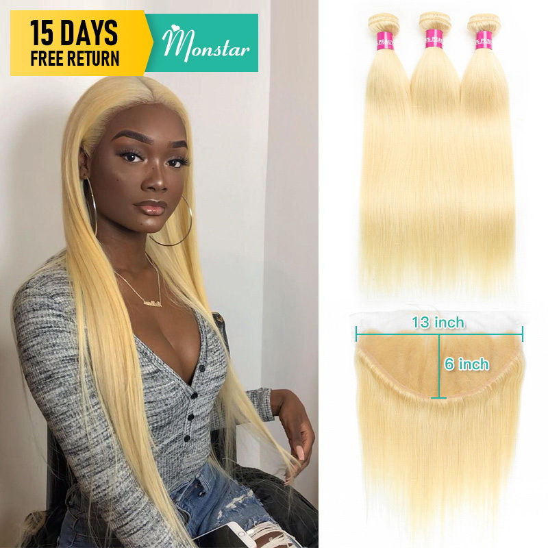 Monstar Blonde Bundles With Frontal Peruvian Straight Remy Human Hair Extensions 8 - 30 Inch 613 Bundles With 13x6 Lace Frontal