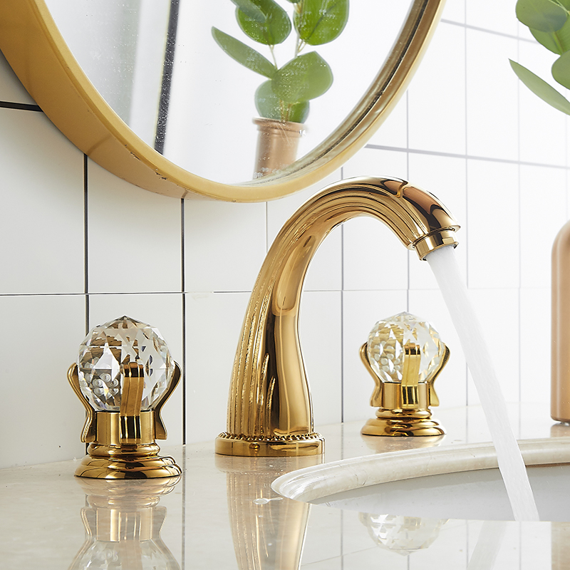Tuqiu Basin Faucet Gold Bathroom Sink Faucet 3 Hole Widespread Basin Mixer Hot And Cold Brass amd Crystal Water Tap New