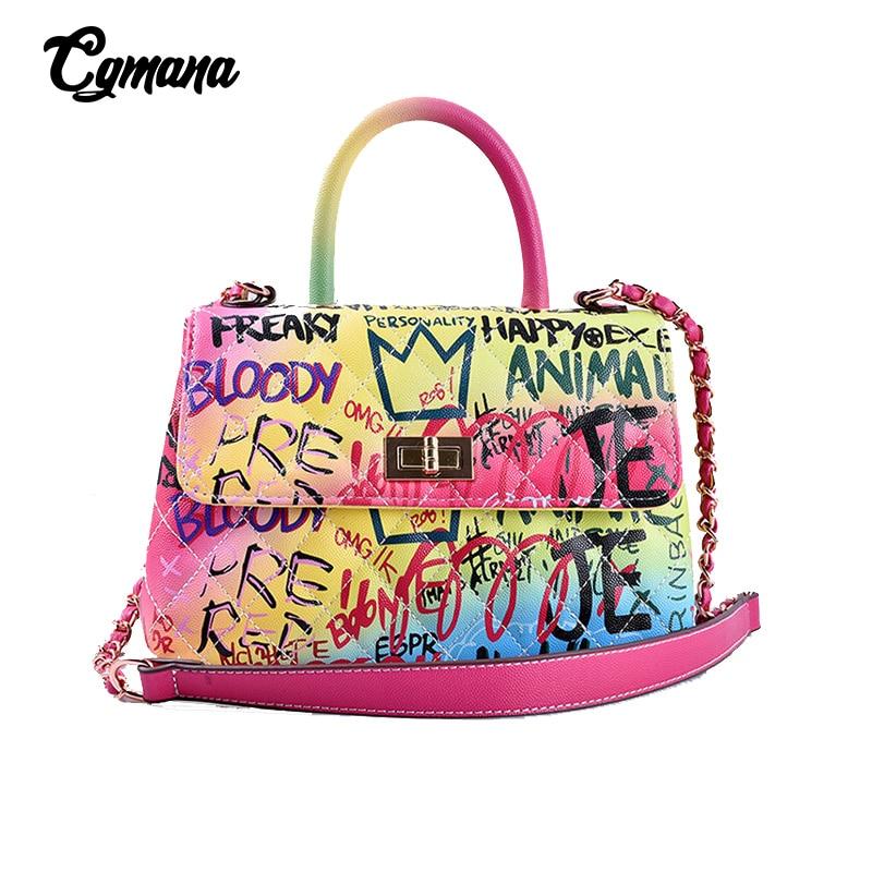 Graffiti Handbags For Women 2019 Colourful Luxury Brand Handbags Women Bags Designer Shoulder Bag Rainbow Travel Messenger Bags