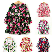 Children Dresses Kids Girl Long sleeves Flower Print Cotton and Linen Floral Dress Baby Girl Spring Summer Dresses for Girls(China)