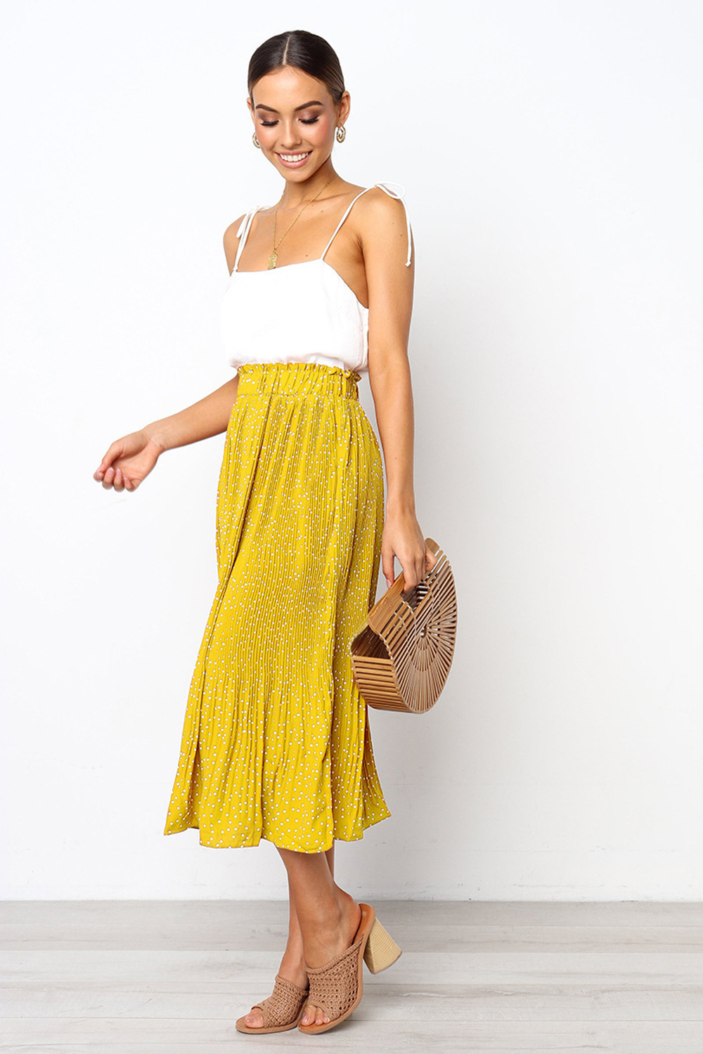 Hcfe65793a06446bcabda414ff9c536914 - Summer Casual Chiffon Print Pockets High Waist Pleated Maxi Skirt Womens Long Skirts For Women