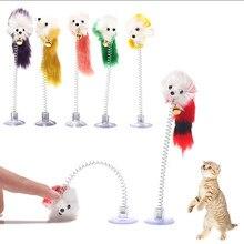 Brinquedo do gato vara pena varinha com sino mouse gaiola brinquedos plástico artificial colorido gato teaser brinquedo para animais de estimação suprimentos cor aleatória