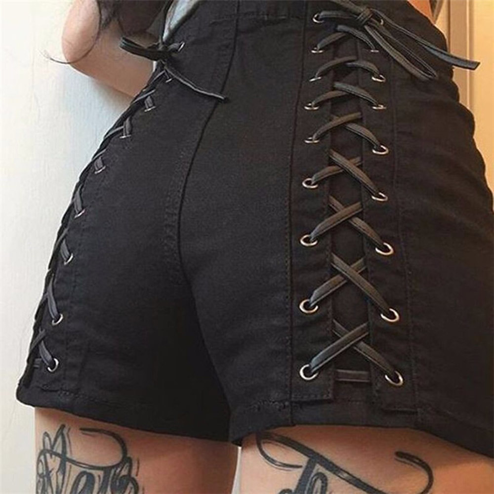 Rostic HOT <font><b>Sexy</b></font> <font><b>Shorts</b></font> Women Club Wear Cross Lace Up High Waist <font><b>Shorts</b></font> Mini Solid Black Gothic Bandage Casual Slim Summer 2020 image