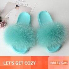 Fox Slippers Fur Shoes Women Furry Slides House Real Fur Sandals Ladies Cute Summer Women's Flip Flops Fluffy Plush Green 2019