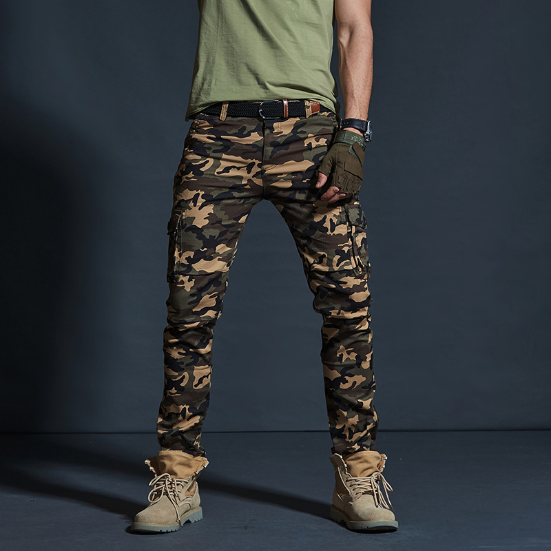 AKSR Men's Large Size Flexible Camouflage Cargo Pants Pockets Military Tactical Pants Trousers Joggers Track Pants Overalls Men